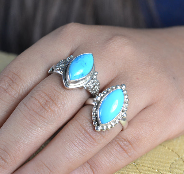Turquoise Ring 925 Solid Sterling Silver Handmade Dual Ring