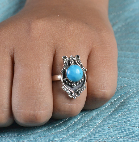 Turquoise Ring 925 Solid Sterling Silver Handmade Round Ring