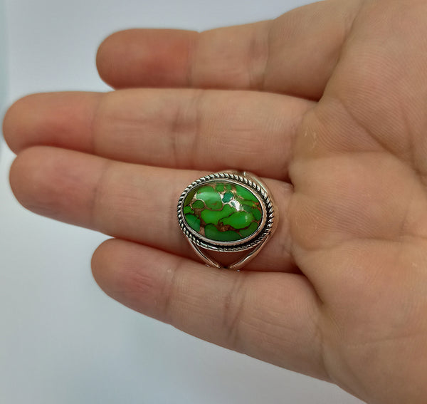 Green Copper Turquoise Composite 925 Solid Sterling Silver Handmade Ring