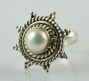 Fresh Water Pearl Ring 925 Solid Sterling Silver Handmade Jewelry Size 3-13 US - NavyaCraft