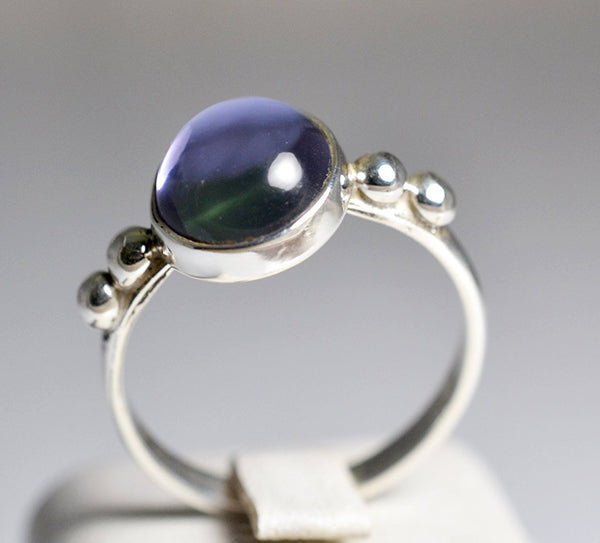 Lab-Created Alexandrite 100% Color Change 925 Solid Sterling Silver Handmade Boho Ring - NavyaCraft