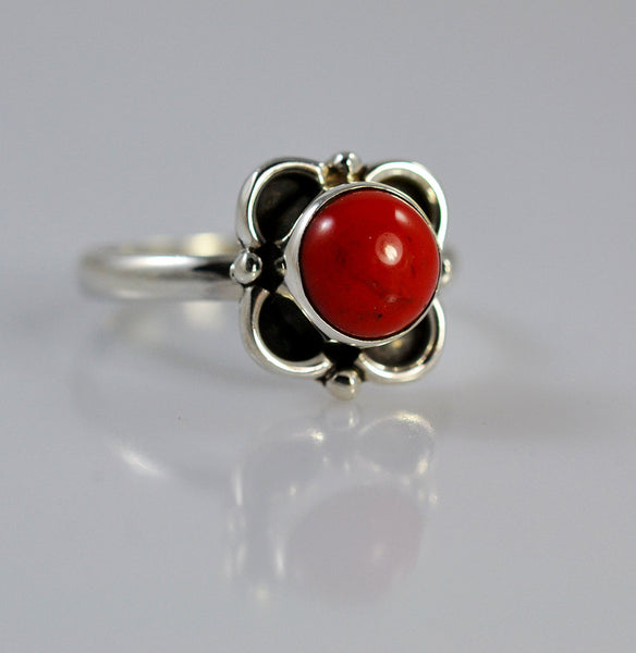 Coral 925 Solid Sterling Silver Handmade Flower Ring - NavyaCraft