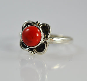 Coral Sterling Silver Handmade Flower Ring - NavyaCraft