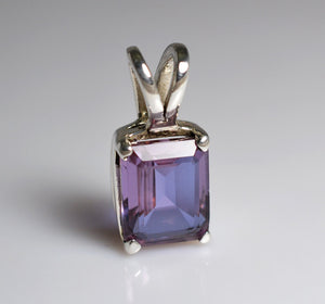 Lab-Created Alexandrite 100% Color Change 925 Solid Sterling Silver Handmade Pendant - NavyaCraft