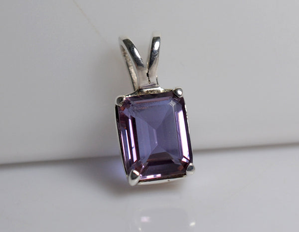 Alexandrite 100% Color Change Lab-Created Sterling Silver Handmade Pendant - NavyaCraft
