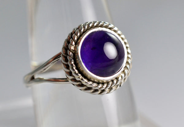 Amethyst 925 Solid Sterling Silver Handmade Lace Ring - NavyaCraft
