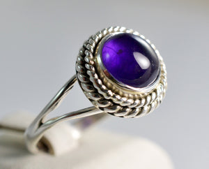 Genuine Amethyst Sterling Silver Handmade Lace Ring - NavyaCraft