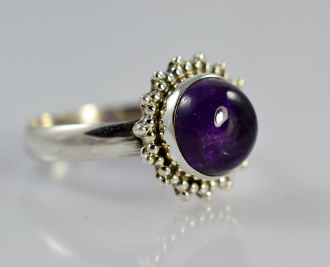 Genuine Amethyst Sterling Silver Bloom Ring - NavyaCraft