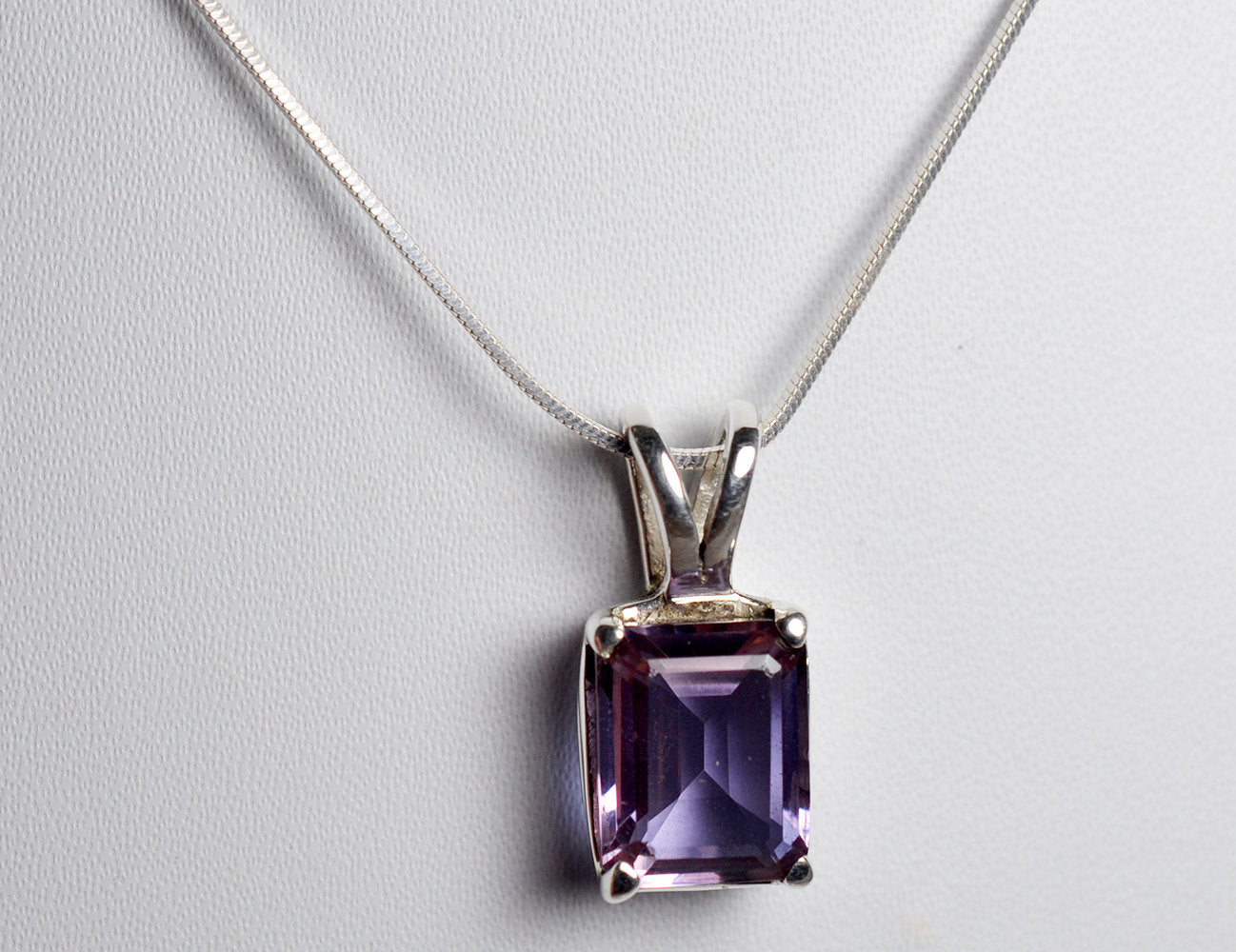 Lab-Created Alexandrite 100% Color Change Pendant with 925 Solid Sterling Silver Italian Snake Chain - NavyaCraft