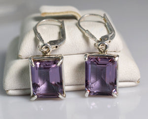 Lab-Created Alexandrite 100% Color Change 925 Solid Sterling Silver Royal Earrings - NavyaCraft