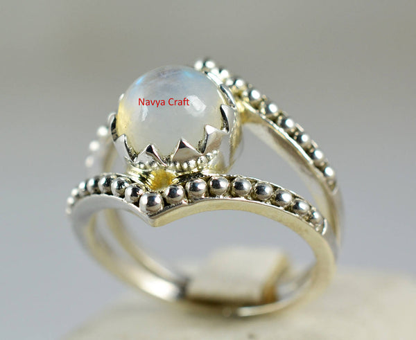 Rainbow Moonstone 925 Solid Sterling Silver Handmade Crown Ring - NavyaCraft