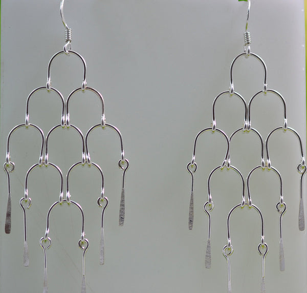 925 Solid Sterling Silver Handmade Dangling Chandelier Earrings - NavyaCraft