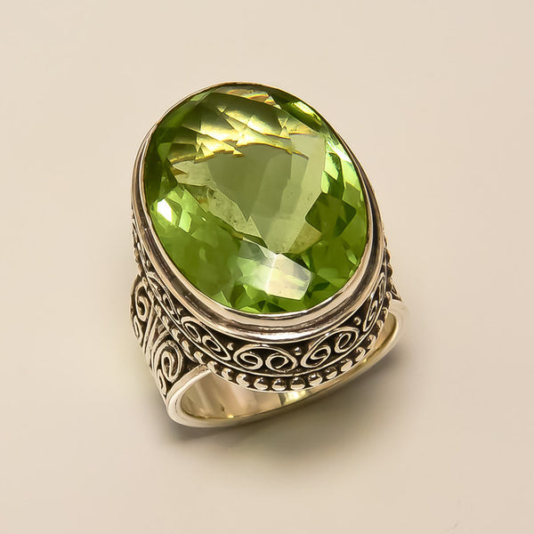 Peridot Quartz 925 Solid Sterling Silver Handmade Magic Ring - NavyaCraft
