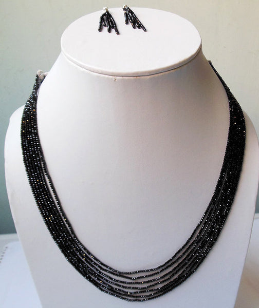 Black Rondelle Beads Handmade Necklace - NavyaCraft