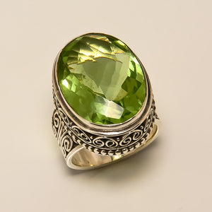 Peridot Quartz Sterling Silver Handmade Magic Ring - NavyaCraft