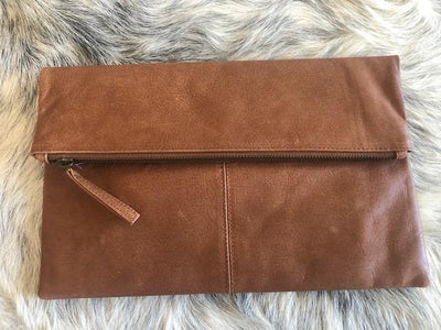 BARE LEATHER FOLDOVER CLUTCH