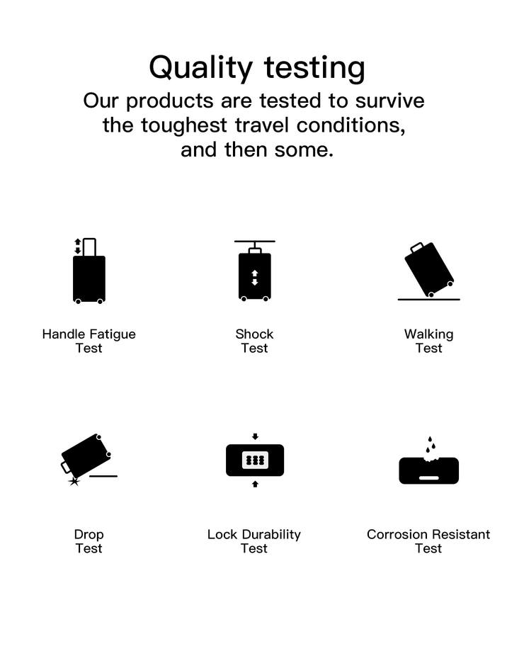 carry on luggage quality testing
