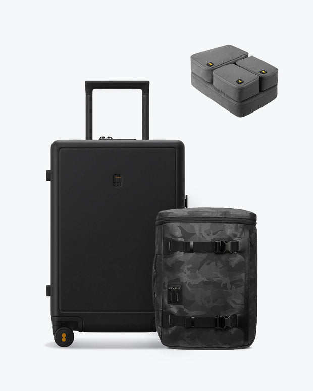 backpack and carry on black luggage set