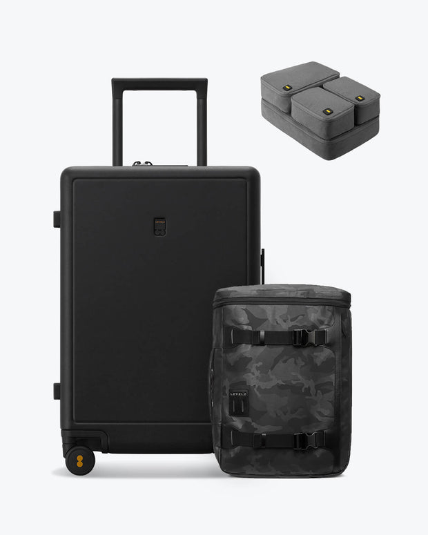 backpack and checked black luggage set