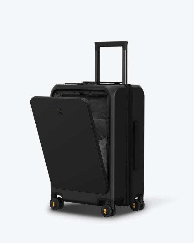 black luggage pockted with muti pockets