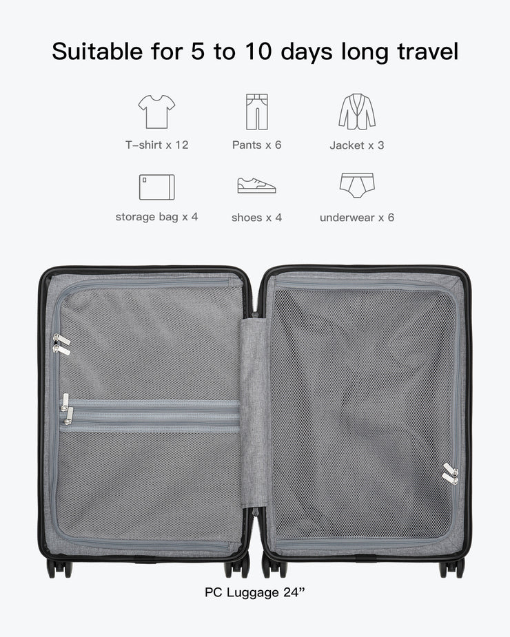 Textured Anti-Scratch Surface 100% PC Luggage 24""