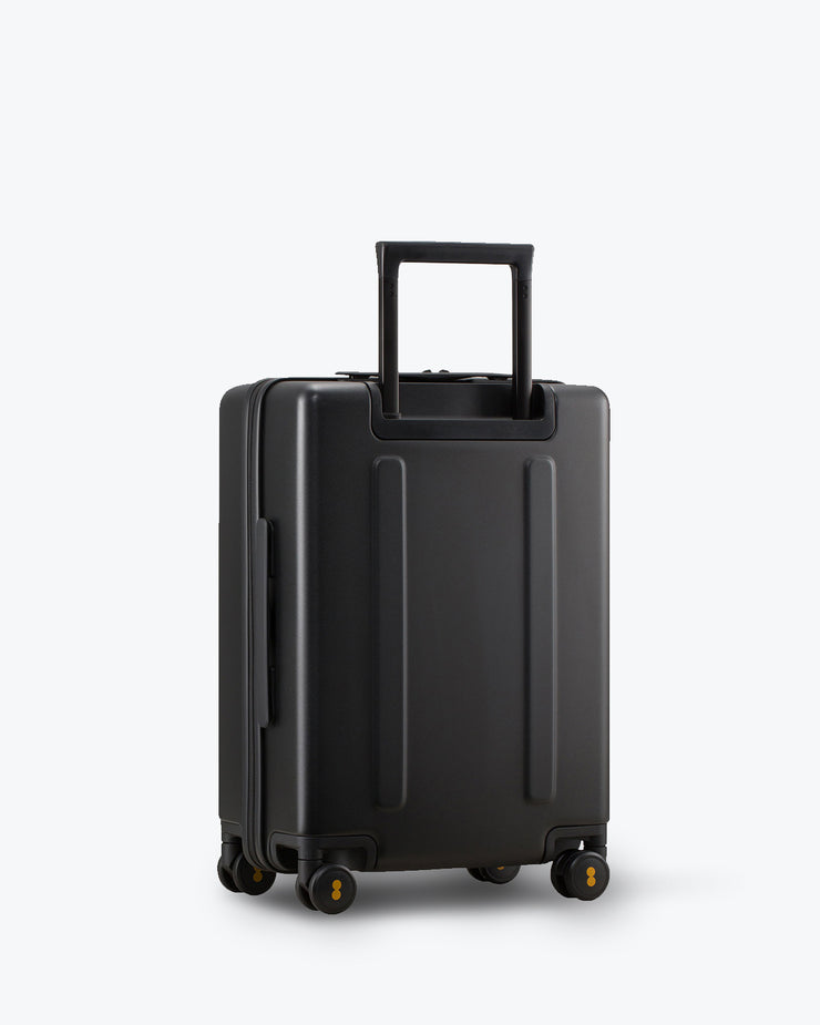 black luggage bag backside