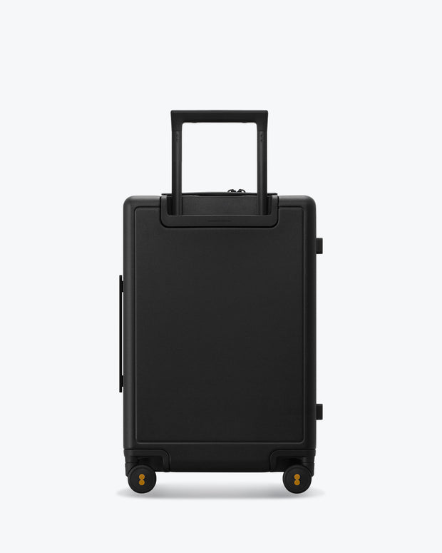 black carry on luggage backside