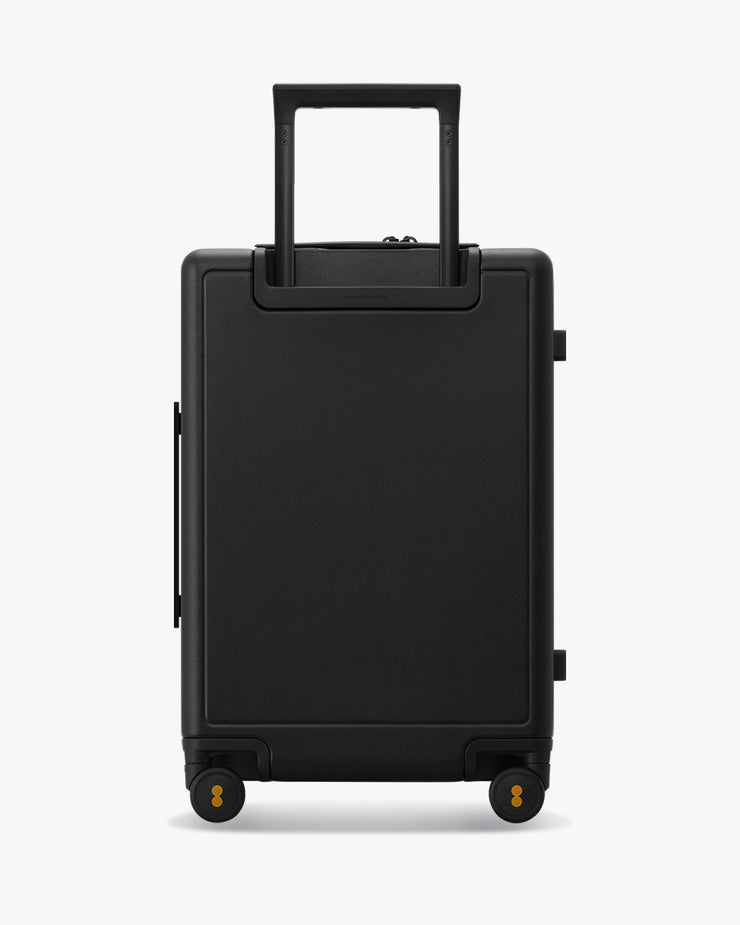 black luggage backside