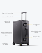 aluminum luggage features
