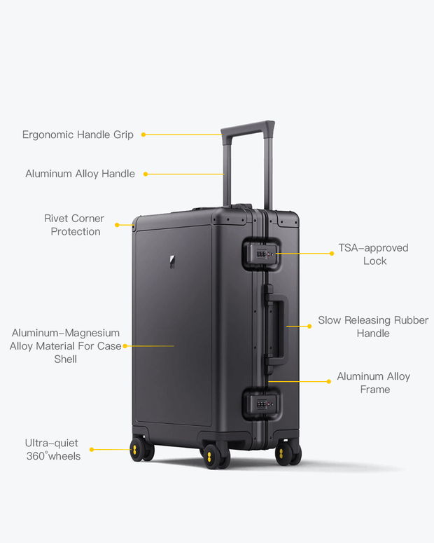 "aluminum luggage features, carry on size:  22"" x 14"" x 9"""