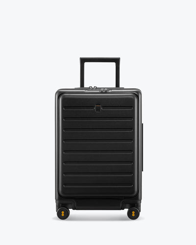 black luggage with laptop pocket
