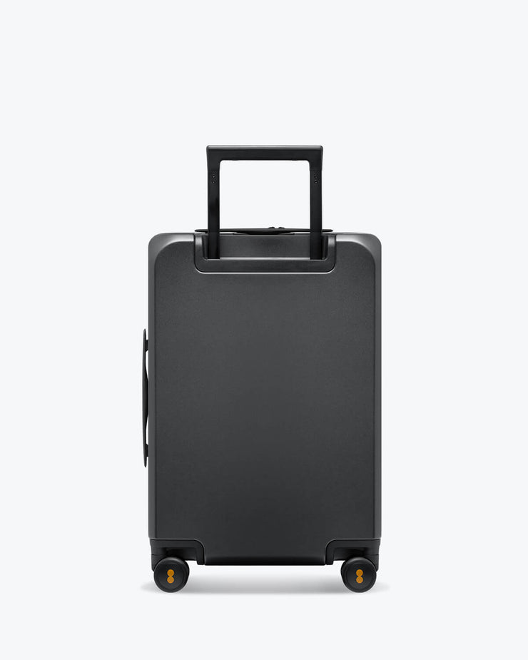grey carry on luggage bag with laptop pocket