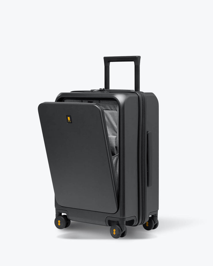 grey carry on luggagewith laptop pocket