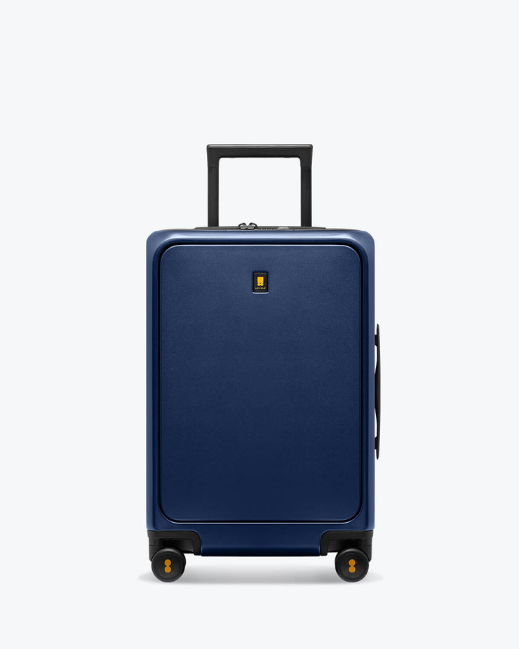 blue carry on luggage with pocket