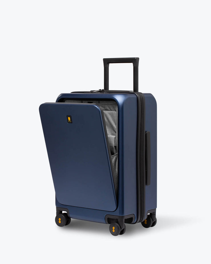 blue carry on suitcase with laptop pocket