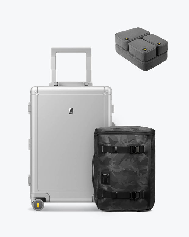 backpack and aluminum luggage set for sale