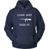 "Come And Take It Hoodie, You can't really make a more bold statement than, ""Come and take it"" directed towards the people who have never pulled a trigger.  Here is some more info for our Come And Take It Hoodie, merchant of liberty, pro-gun t-shirt, second amendment t-shirt, 2nd amendment shirt"