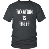 Taxation Is Theft T-Shirt, merchant of liberty, libertarian shirts, liberty apparel, liberty gear, taxation is theft shirt