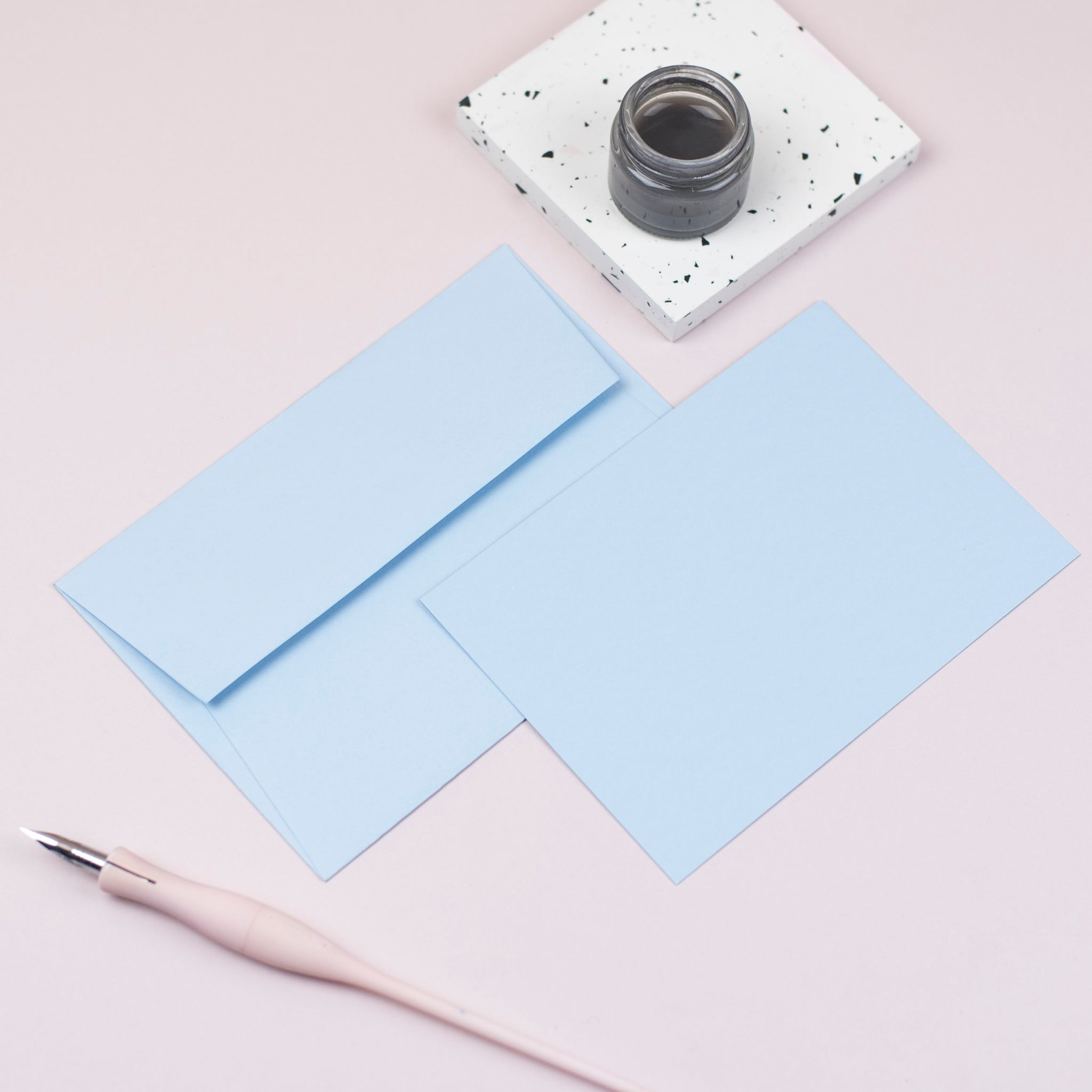Luxury azure blue notecards and envelopes