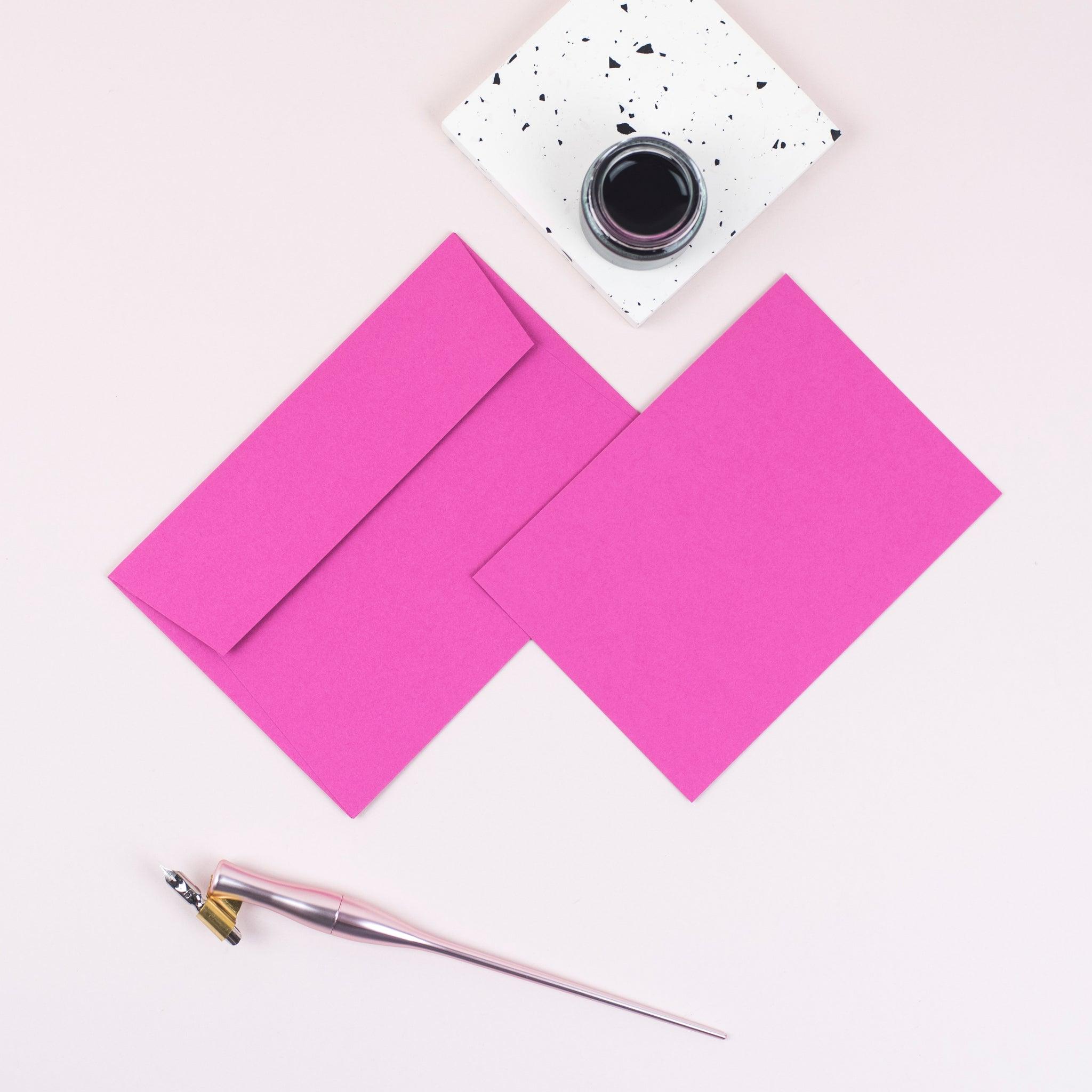 Luxury bright pink notecards and envelopes
