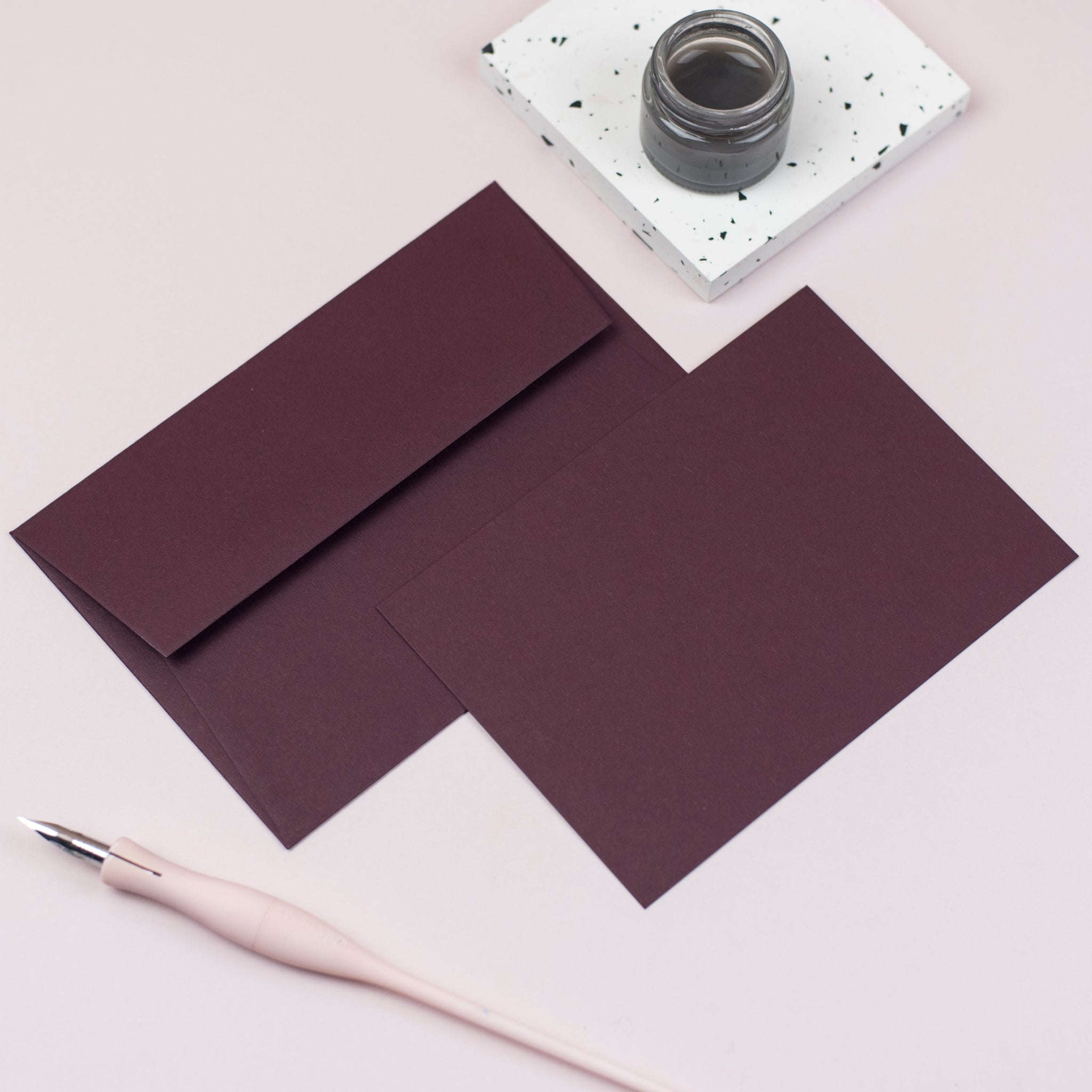Luxury burgundy notecards and envelopes