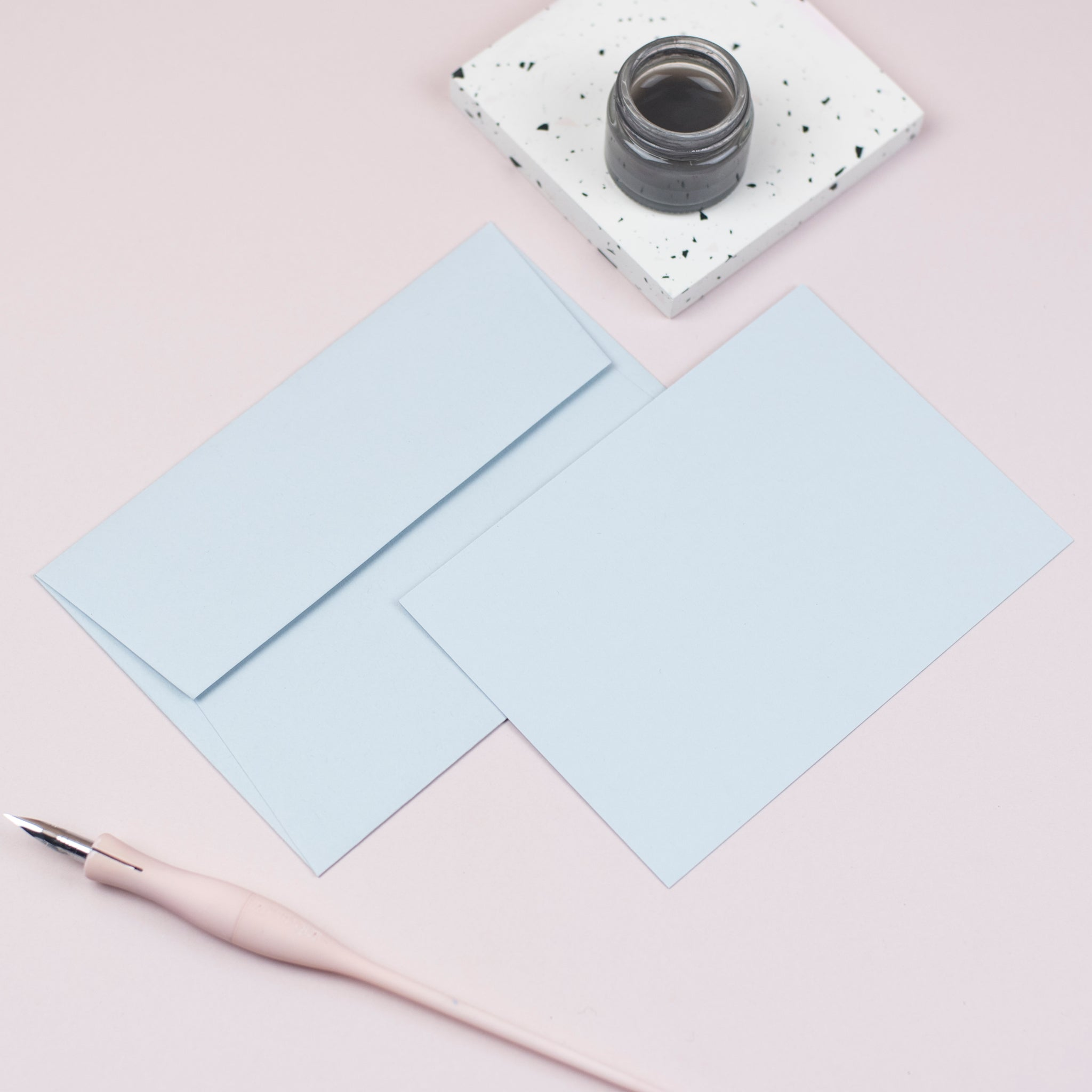 Luxury pale blue notecards and envelopes
