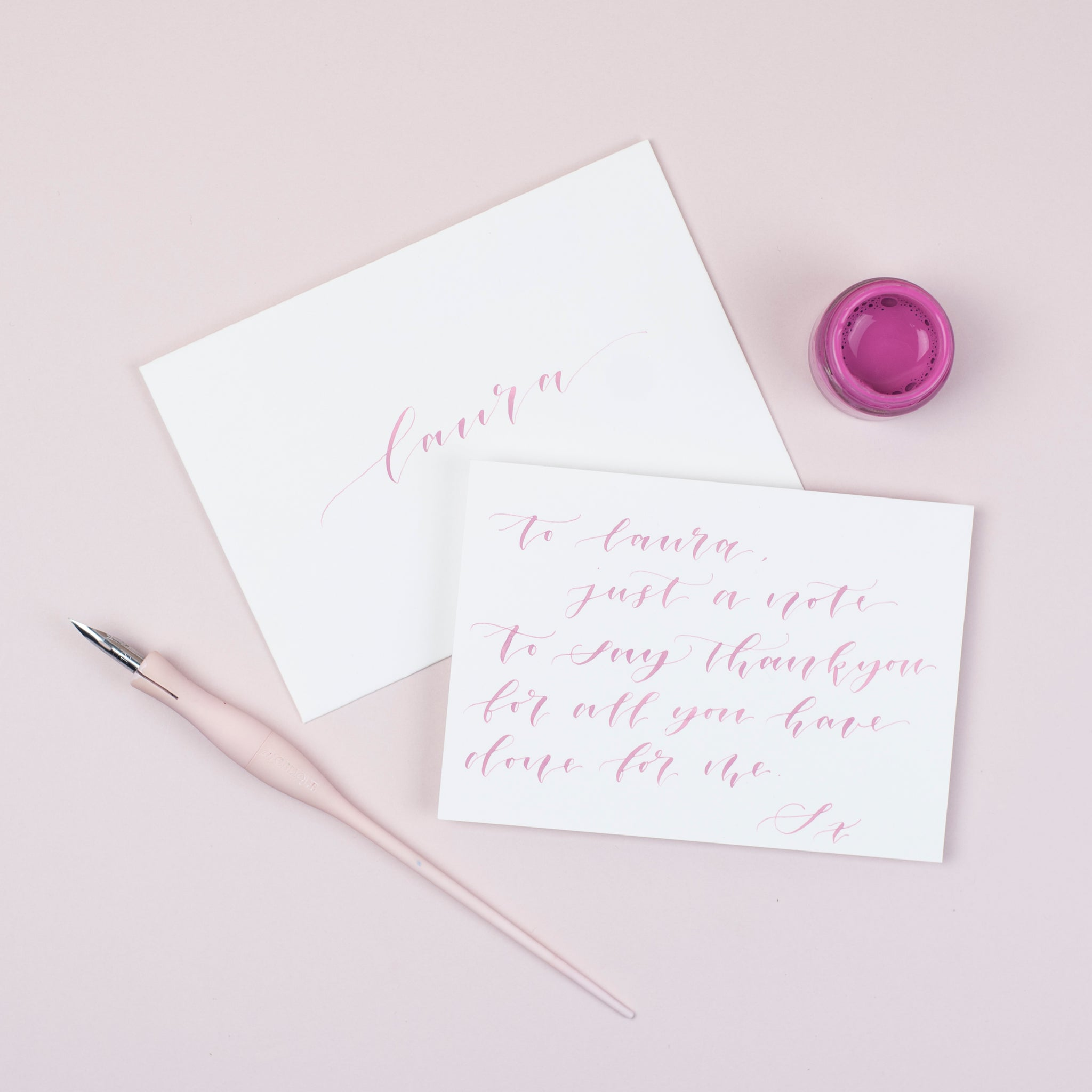 Luxury pale pink notecards and envelopes
