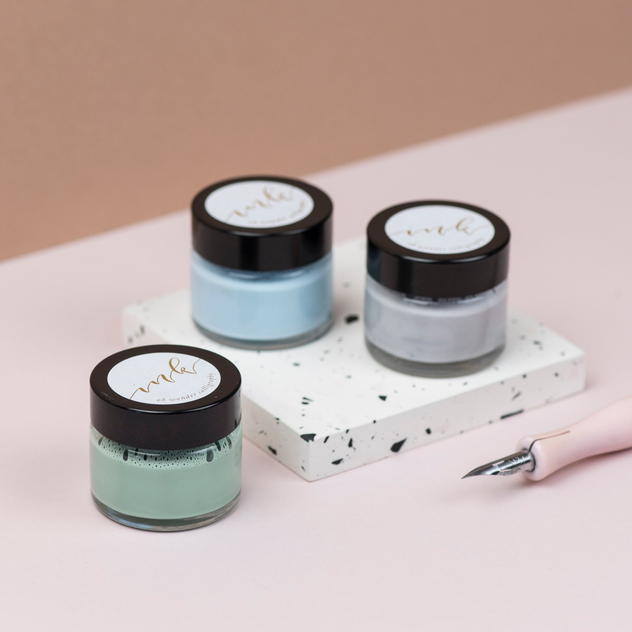 Sage, Pale Blue and Pale Grey Calligraphy Ink Trio