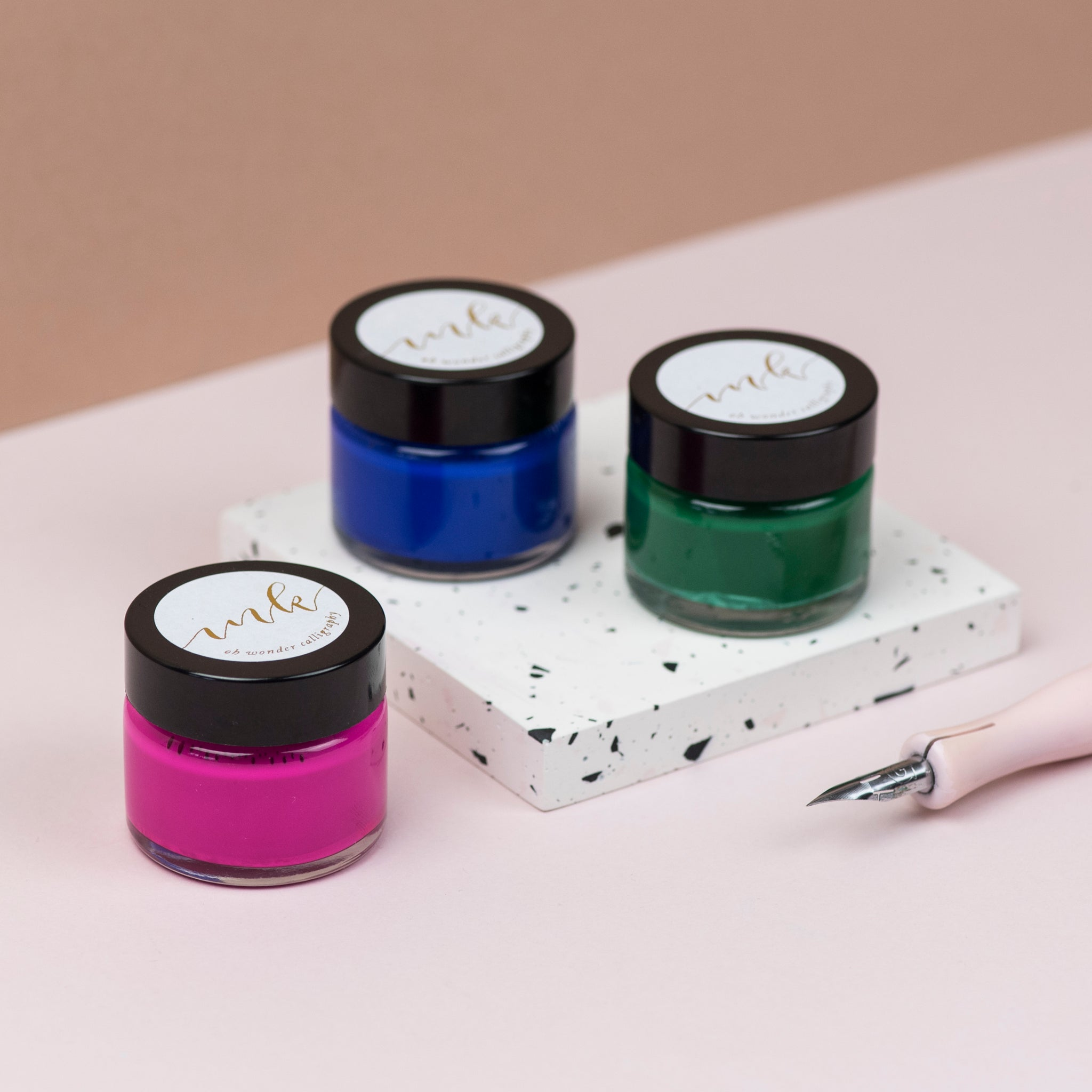Bright Pink, Azure and Forest Calligraphy Ink Trio