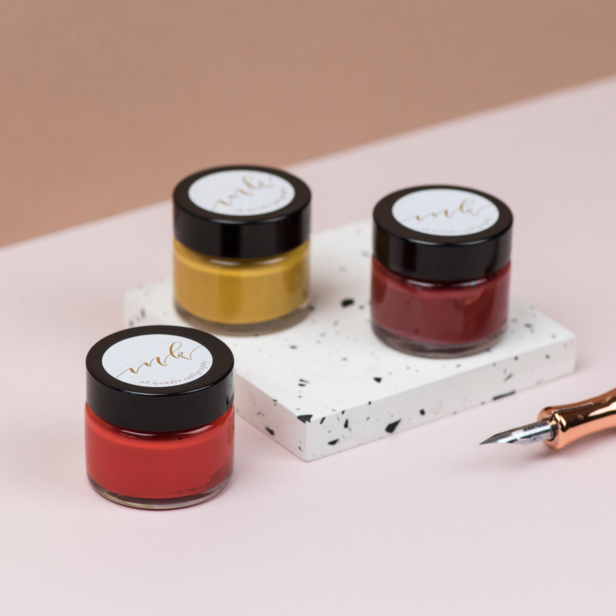 Red, Mustard and Red Ochre Calligraphy Ink Trio