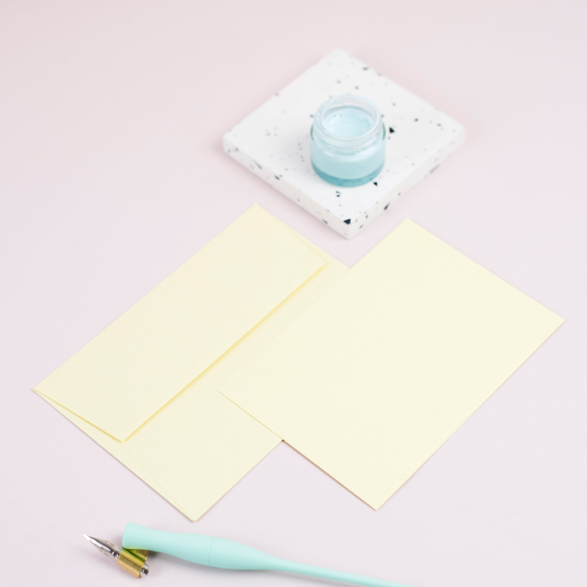 Luxury pastel yellow notecards and envelopes