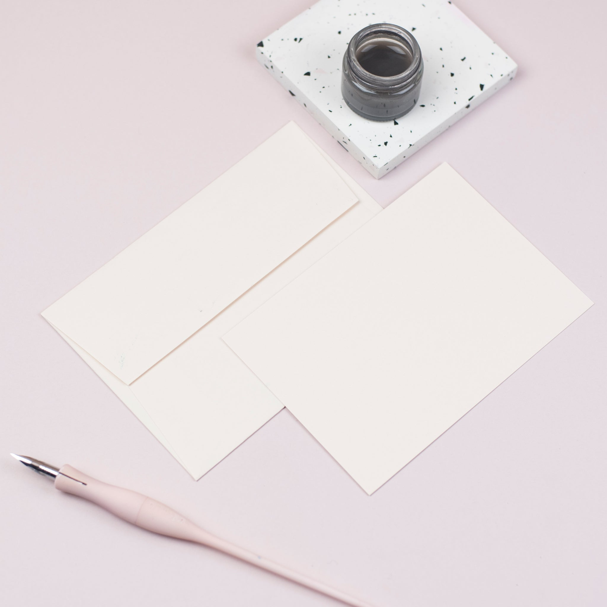 Luxury pale peach notecards and envelopes