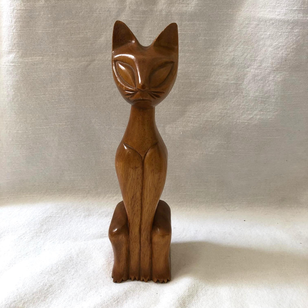 Mid Century Wood Carved Cat