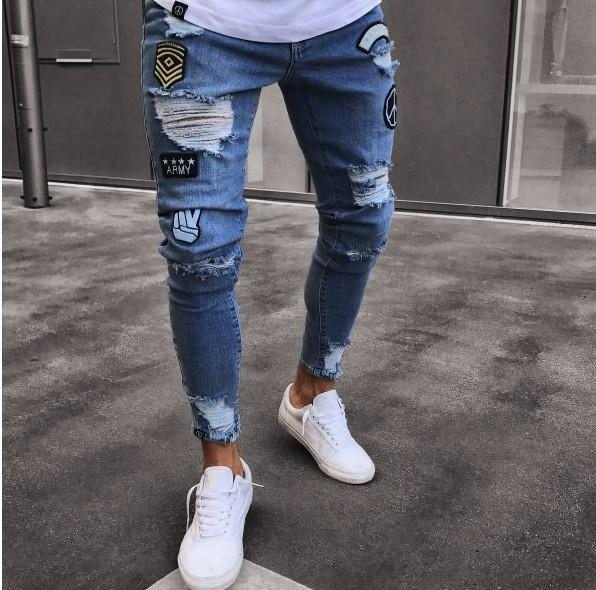 Ripped Denim Patches Jeans